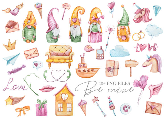 Print on Demand: Watercolor Valentine Gnomes Clipart Set Graphic Illustrations By Tiana Geo