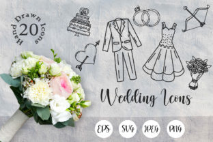Print on Demand: Wedding Hand Drawn SVG Files Graphic Icons By Tosca Digital