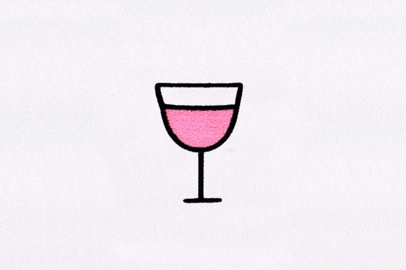 Wine Glass Wine & Drinks Embroidery Design By DigitEMB