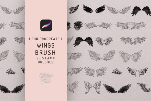 Wings 20 Procreate Wing Stamp Brush Set Graphic Brushes By EfficientTools