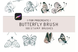 100 Procreate Butterflies Stamp Brush Graphic Brushes By EfficientTools