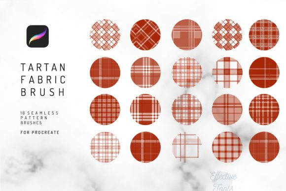 16 Seamless Tartan Procreate Brush Graphic Brushes By EfficientTools