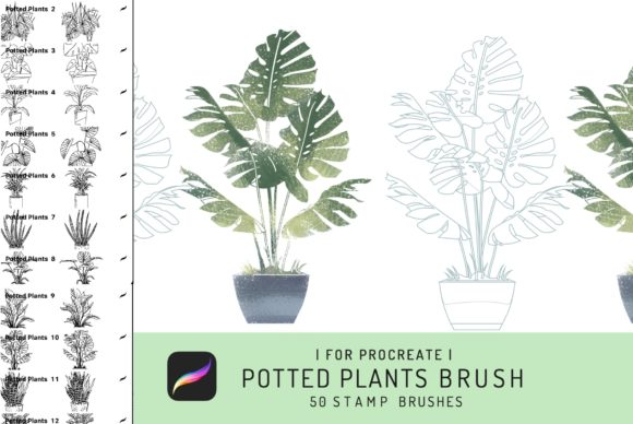 50 Procreate Potted Plant Stamps Graphic Brushes By EfficientTools
