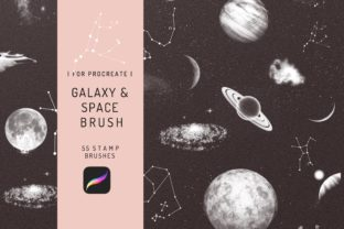 55 Procreate Galaxy and Space Brushes Graphic Brushes By EfficientTools