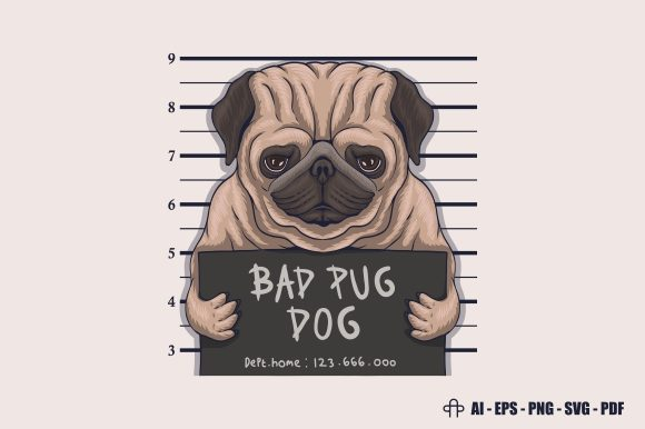 Print on Demand: Bad Pug Dog Crime Vector Illustration Graphic Illustrations By Andypp