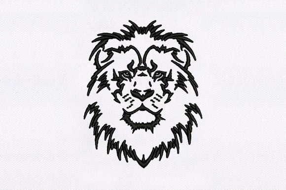 Black Outline Lion Wild Animals Embroidery Design By DigitEMB