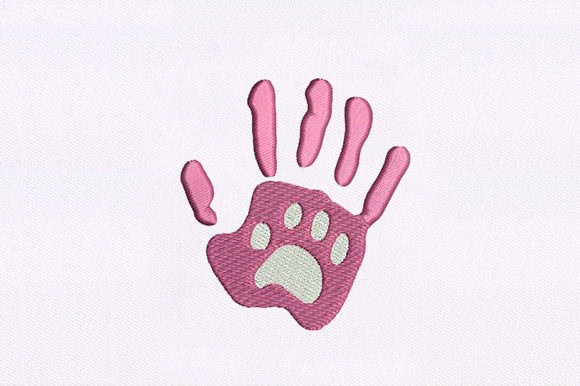 Cat Paw & Human Hand Animal Quotes Embroidery Design By DigitEMB