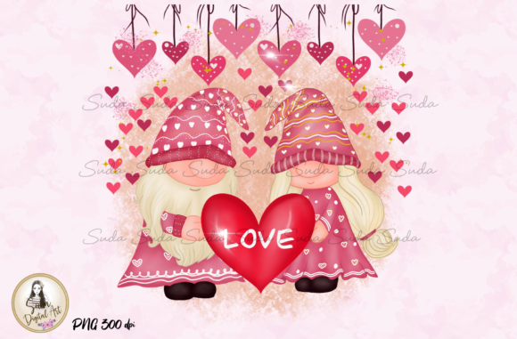 Print on Demand: Cute Love Valentine's Gnomes Sublimation Graphic Illustrations By Suda Digital Art