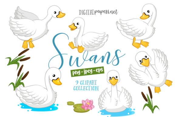 Print on Demand: Cute Swans Graphic Illustrations By DigitalPapers