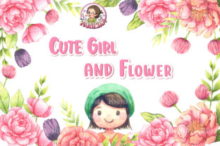 Print on Demand: Cute Girl and Flower Graphic Illustrations By huapika
