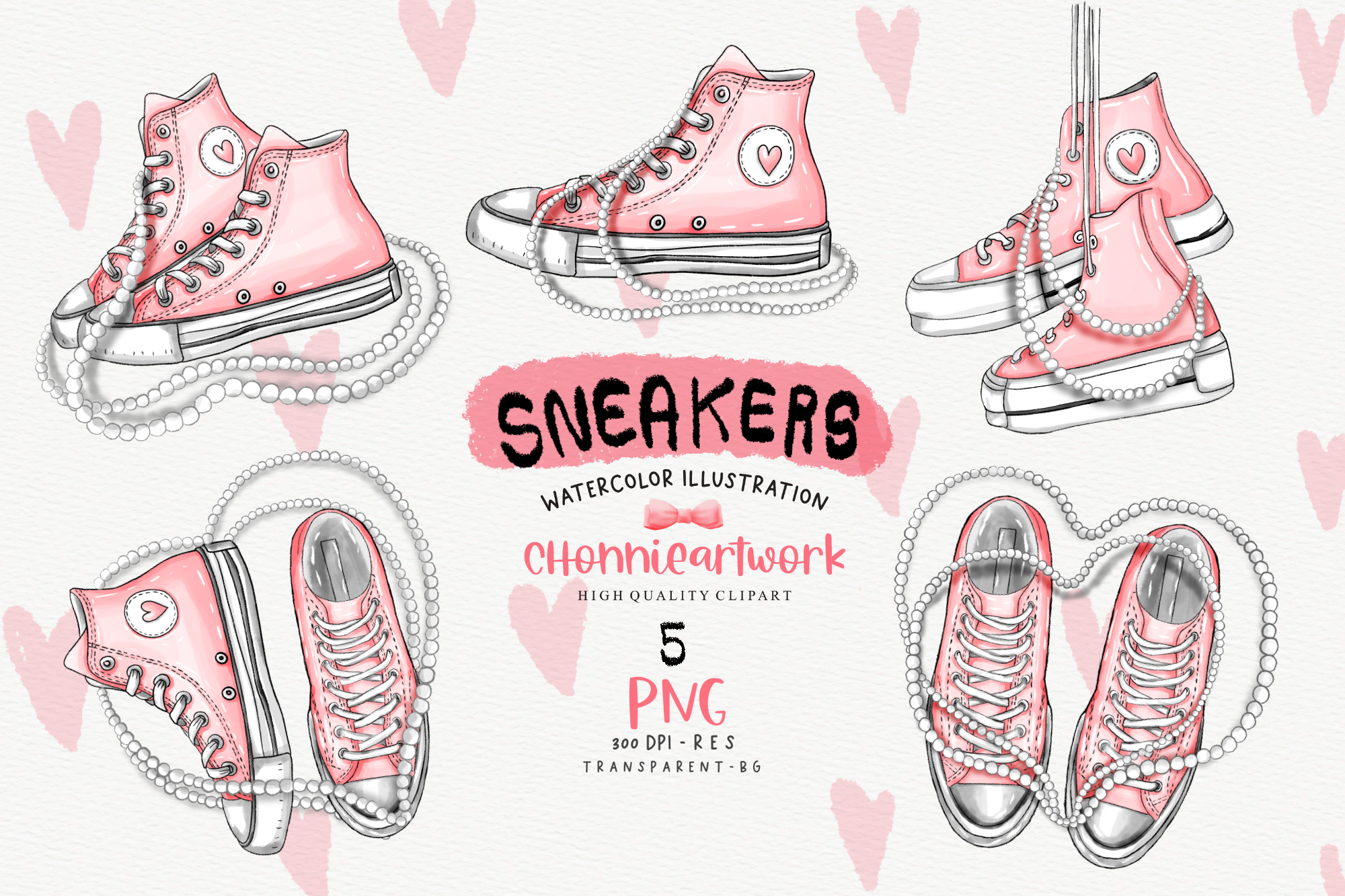 Sneakers and Pearls Sublimation Bundle SVG File