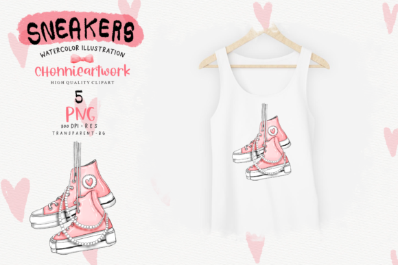 Sneakers and Pearls Sublimation Bundle Graphic Image