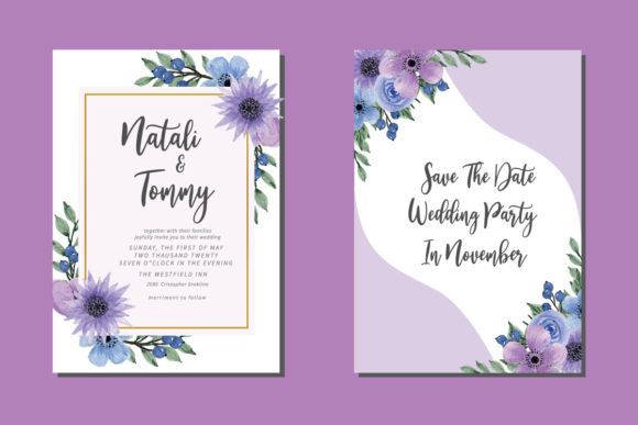 Print on Demand: Floral Wedding Watercolor Invitation EPS Graphic Print Templates By Dender Studio