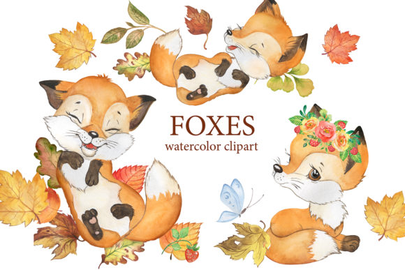 Fox Watercolor Clipart. Forest Animals Graphic Illustrations By EvArtPrint