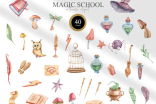 Print on Demand: Magic School Clipart. Wizard School Set Graphic Illustrations By Tiana Geo