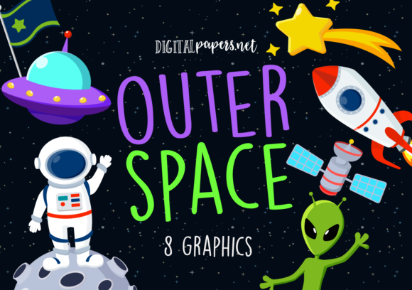Print on Demand: Outer Space Clipart Graphic Illustrations By DigitalPapers