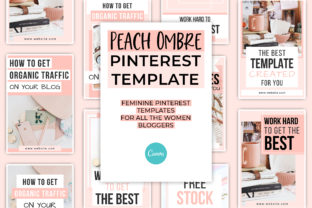 Print on Demand: Peach Ombre Canva Pinterest Template Graphic Presentation Templates By SnapyBiz