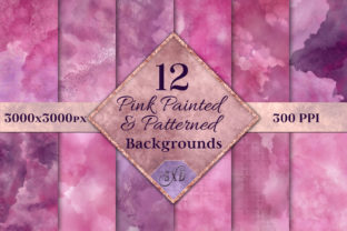 Print on Demand: Pink Painted and Patterned Backgrounds Graphic Backgrounds By SapphireXDesigns