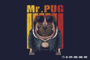 Print on Demand: Pug Dog Cool Vector Illustration Graphic Illustrations By Andypp