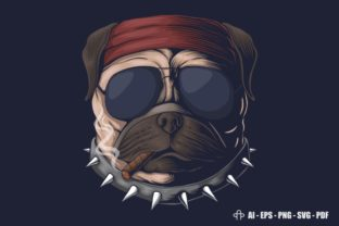 Print on Demand: Pug Dog Head Smoke Vector Illustration Graphic Illustrations By Andypp