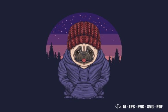 Print on Demand: Pug Dog Night Vector Illustration Graphic Illustrations By Andypp