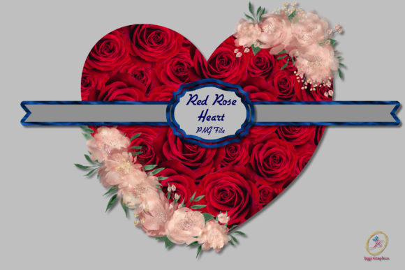Red Rose Heart Valentine Day Sublimation Graphic Backgrounds By Jiggi Graphics