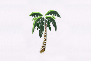 Restful Palm Tree Beach & Nautical Embroidery Design By DigitEMB