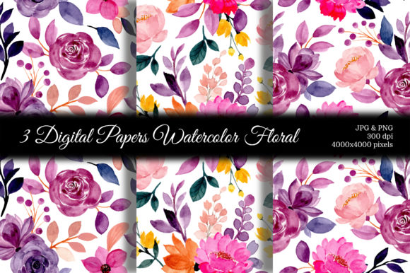 Print on Demand: Seamless Pattern Floral Watercolor 109 Graphic Patterns By asrulaqroni