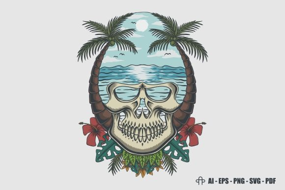 Print on Demand: Skull Beach Tropical Vector Illustration Graphic Illustrations By Andypp