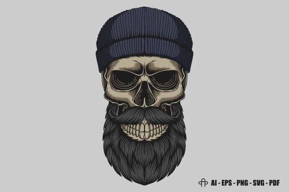 Print on Demand: Skull Bearded Mustache Head Graphic Illustrations By Andypp