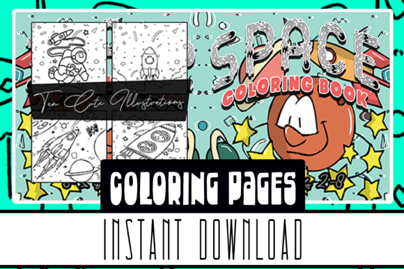 Space Coloring Book 10 Pages for All Age Graphic Coloring Pages & Books Kids By Rabbit Art