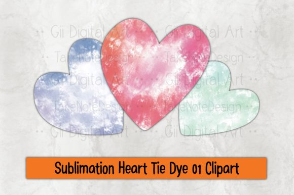 Print on Demand: Sublimation Heart Tie Dye 01 Clipart Graphic Crafts By Gii Digital Art