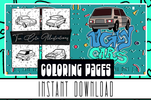 Ugly Car Coloring Book 10 Pages for All Graphic Coloring Pages & Books Kids By Rabbit Art