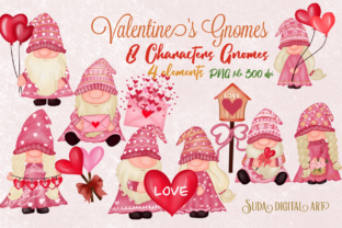Print on Demand: Valentine's Day Cute Love Gnomes Clipart Graphic Illustrations By Suda Digital Art