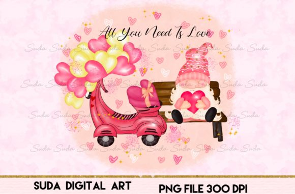 Print on Demand: Valentine's Day Gnome Cute Love Design Gráfico Ilustraciones Por Suda Digital Art