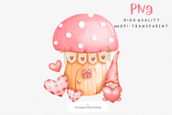 Print on Demand: Watercolor Gnome Valentines Day Graphic Crafts By Chonnieartwork