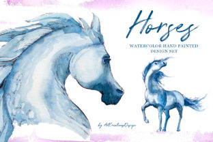 Watercolor Horses Design Set Graphic Illustrations By artcreationsdesign