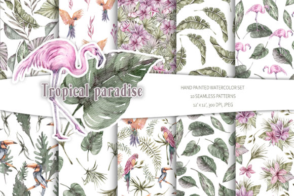 Print on Demand: Watercolor Tropical Seamless Patterns Graphic Patterns By Tiana Geo