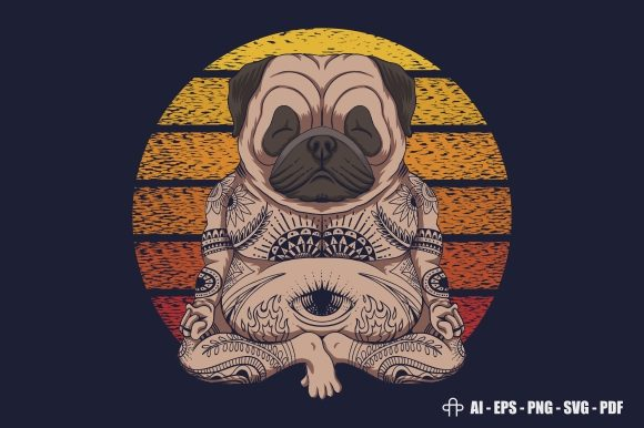 Print on Demand: Yoga Pug Dog Sunset Retro Graphic Illustrations By Andypp