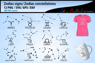Print on Demand: Zodiac Constellations Signs Svg Graphic Illustrations By Arcs Multidesigns
