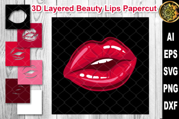 Print on Demand: 3D Layered Papercut Woman Lips Clipart 1 Graphic Crafts By V-Design Creator
