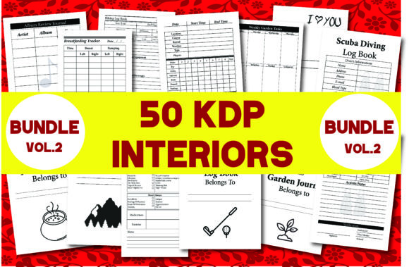 Print on Demand: Bundle Pack 50 KDP Interiors Vol.2 Graphic KDP Interiors By Ivana Prue