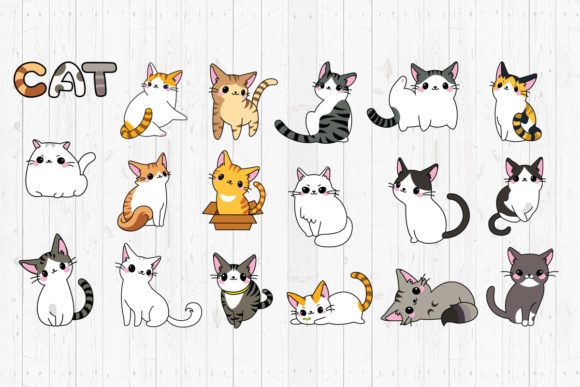 Print on Demand: Cat, Svg, Png, Dxf, Eps. Graphic Crafts By LightBoxGoodMan
