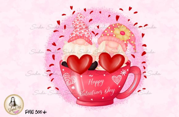 Print on Demand: Cup Valentine's Day Gnomes Sublimation Graphic Illustrations By Suda Digital Art