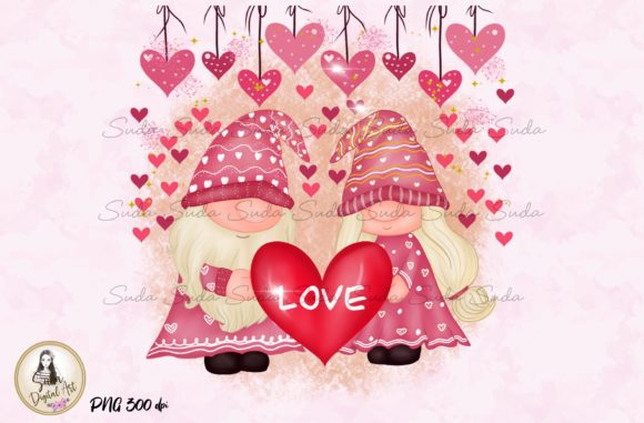 Print on Demand: Cute Love Valentines Gnomes Sublimation Graphic Illustrations By Suda Digital Art
