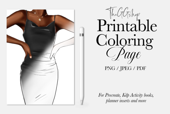 Print on Demand: Fashion Printable Adult  Coloring Page Graphic Illustrations By TheGGShop