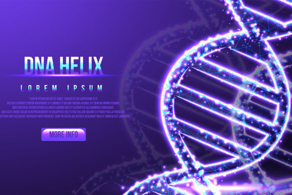 Print on Demand: Futuristic DNA, Low Poly Wireframe Graphic Backgrounds By ojosujono96