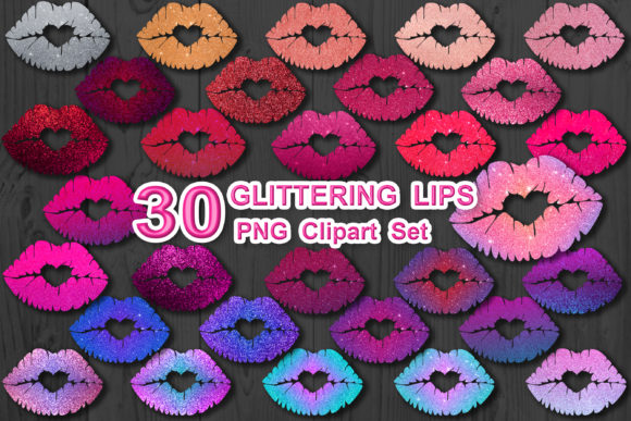 Print on Demand: Glittering Lips Valentine Clipart Set Graphic Illustrations By V-Design Creator