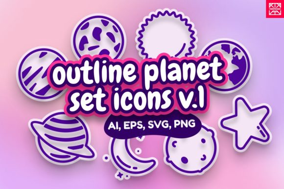 Print on Demand: Outline Planet Icons V1 - Illustratation Graphic Illustrations By YDNTKWIA