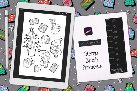 Print on Demand: Procreate Brush Stamp | Christmas 02 Graphic Brushes By Gii Digital Art
